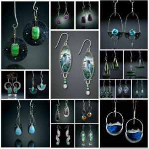 925 Silver Turquoise Moonstone Earrings Pearl Ear Hook Dangle Drop Fine Jewelry
