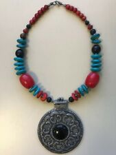 INDIA VINTAGE CHUNKY NECKLACE, Red Coral, Pewter, Turquoise, Statement Piece