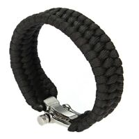 2X(Adjustable Buckle Paracord Survival Parachute Cord Bracelet Buckle WhistK6F8)