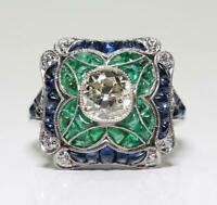 Vintage Art Deco Engagement Sapphire Ring 14K White Gold In Plated 3.1Ct Diamond