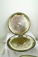 """2 EP Brass plated Round 12"""" Serving Platters Silver"""