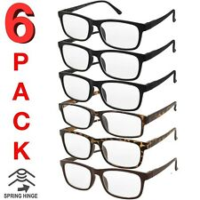 MENS WOMENS READING GLASSES UNISEX SPRING HINGE 6 PACK READERS BULK NEW READER