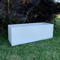 23-45 Inches Quality Large Trough Fiberglass Planter Finished In Matte White