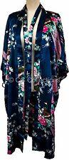 Kimono Peacock PREMIUM pyjamas Lingerie gown sexy Japanese Plush robe Navy Blue