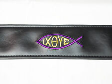 LM Embroidered Ichthys JESUS Fish CHRISTIAN Black GUITAR strap - BLEMISHED
