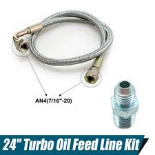 """New Aluminum 90° AN4 24"""" Car Turbo Oil Feed Line Kit Built in Oil Restrictor"""
