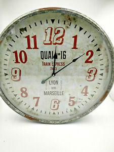 Horloge quai de gare type SNCF Lyon Marseille 51cm aspect vintage,neuve