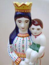 Sainte Vierge Marie à l'enfant Jésus faïence polychrome Henriot Quimper