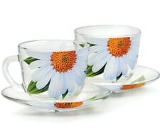 SET OF 2 GLASS TEA CUPS & SAUCERS WITH DAISIES FLORAL DECAL MUGS MADE IN RUSSIA
