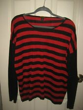 Dana Buckman Red and Black Stripe with Metallic Sweater Top Size XL