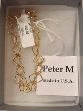 Nwt Peter M Two Strand Heart Chain Bracelet, Golden Plated Brass
