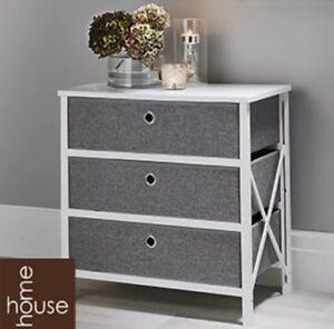 Folding Grey & White 3-Drawer Storage Draws