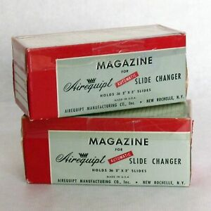 Airequipt Slide Magazine Lot of 2 Vintage Holders 36 Slots Each with Slides