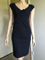 Rebecca Taylor Blue Sleeveless Wool Blend Sheath Dress EUC size 0 womens