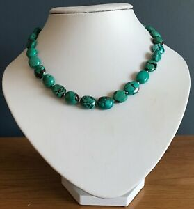 """Real turquoise necklace, solid Sterling Silver, 13 x 12mm beads, 17 3/4"""" length."""