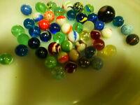 50 billes en verre pour jouer ou création = jolis coloris