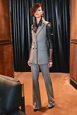 🔷 MAX MARA Suit Vest 12USA 46IT & Pants14USA 48IT Houndstooth 100% Wool in Grey