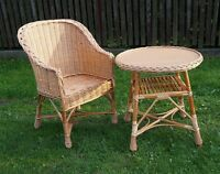 GARDEN FURNITURE SET CHAIRS TABLE OUTDOOR PATIO CONSERVATORY WICKER NATURAL eco
