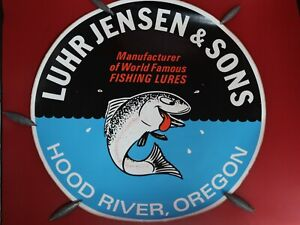 Luhr Jensen HUGE 18 INCH! Sticker Fishing Man Cave Sign Material