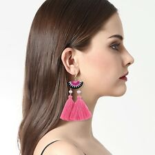 Anthropologie Pink Watermelon Fabric Tassels Fringe Earrings Rose Gold Bead Boho