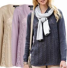 Hip Length Cotton V Neck Jumpers & Cardigans for Women