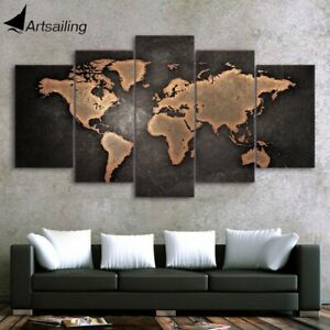 Canvas Print For Living Room World Map Wall Art Canvas Painting-5pcs-With Frame