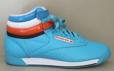Vtg Reebok c.1980's Hi-Top Free Style Aqua Leather Athletic Sneakers Shoes Sz 9