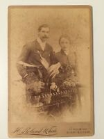 Large Victorian Cabinet Card Photograph Photo - White - Birmingham - Couple 1890