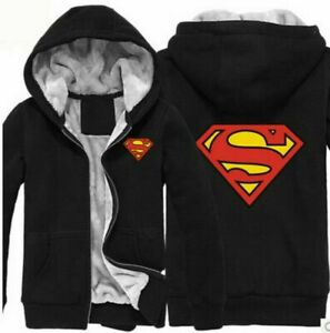 2020 DC Superman Winter Coat Cosplay Fleece Casual Hoodie Jacket NEW //