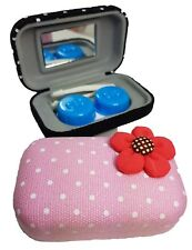 Fabric Flower Coloured Contact Lens Lenses Travel Kit Mirror Case Tweezers Pink