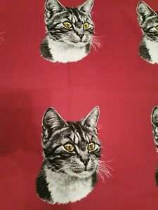 Green Minature Cats Panel Fabric Craft Remnant Cushion Panel  95 x 40 cm