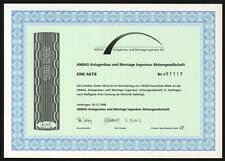AMIAG Anlagenbau und Montage Ingenieur AG - Aktie 100 DM - 30.12.1998 - EF+