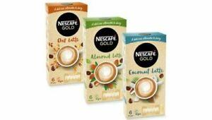 Nescafe Almond Oat Coconut Latte VEGAN Non-Dairy Instant Coffee Sachets x 6 NEW