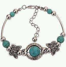 Butterfly Turquoise Wrist Bracelet New Women'S/Girl'S Beautiful Tibetan Silver