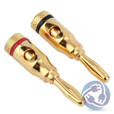 2pcs Gold 24K Male Banana Plugs Audio Jack Speaker Wire Cable Screw Connector