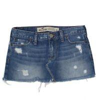 Hollister Denim Mini Skirt Distressed Size 3 Junior Womens Jean Cotton Raw Hem