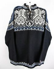 Dale of Norway Mens Crew Neck Knit Wool Sweater White Black Blue Snowflake XL