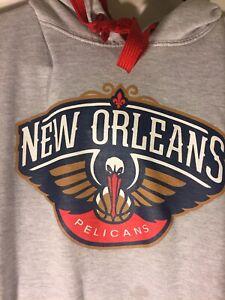 New Orleans Pelicans hoodie sweatshirt men's Large NBA U Gray With Logo