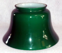 "Green Cased Glass Replacement Lamp Shade 3 3/4"" Fitter EUC Free Ship"