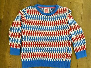 Exquisite Tootsa Jumper Fisherman Cream Blue And Red Unisex Jumper Age 6-7