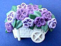 Hallmark PIN Easter Vintage PANSIES Flower WHEELBARROW Holiday Brooch