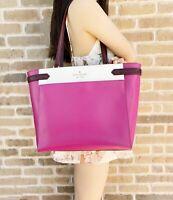 Kate Spade Staci Laptop Tote Triple compartment Leather Handbag Pink Colorblock