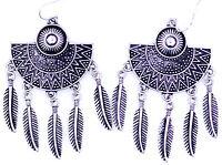 Boho dream chatcher style antique silver colcoured fan leaf chandelier earrings