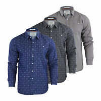 Mens Denim Shirt Crosshatch Demsy Cotton Long Sleeve Collared Casual Top
