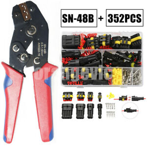 352Pcs 1 2 3 4Pin Electrical Waterproof Connectors Plier Superseal Car Boat Kit