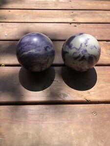 2x Vintage Purple Swirl Duckpin Bowling Balls