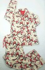 Nick & Nora Yellow/Red Snow Playing Santa 2PC Women's Small Flannel Pajama Set