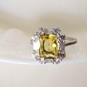 QVC Diamonique Epiphany Platinum Clad Simulated Canary Yellow Halo Ring - Size 9