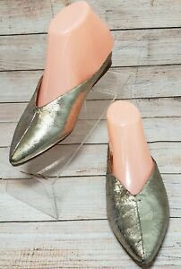 Lucky Brand Barbora Flats Size 6.5 M GOLD Leather Slides Pointed Toe Mules