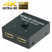 1 in 2 Out UHD 4K Bi Richtung HDMI 2.0 Schalter Umschalter Splitter Hub HDCP 3D